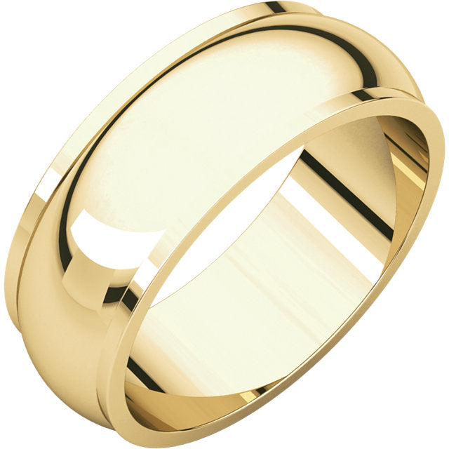 Moores Half Round Edge 7mm Wide Wedding Band