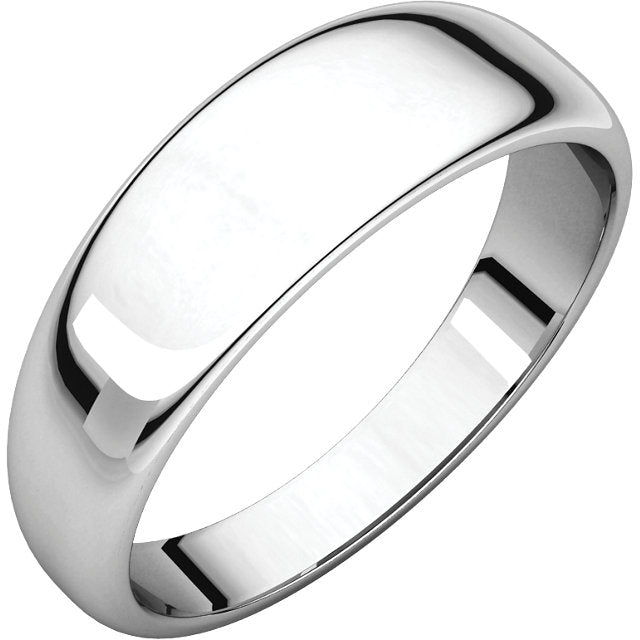 Moores Half Round Tapered 6mm Wide Wedding Ring