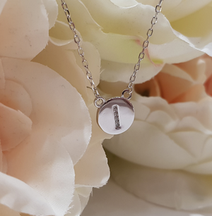 Sterling Silver Stone Set Initial Pendant & Chain - Letter I