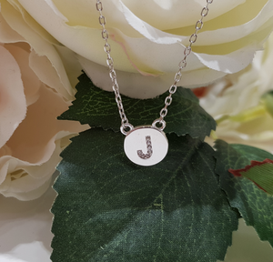 Sterling Silver Stone Set Initial Pendant & Chain - Letter J