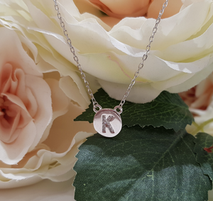 Sterling Silver Stone Set Initial Pendant & Chain - Letter K