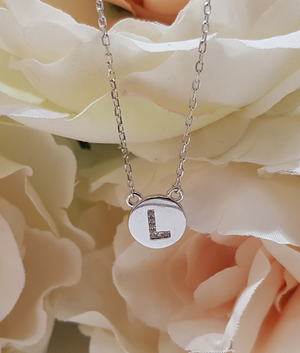 Sterling Silver Stone Set Initial Pendant & Chain - Letter L