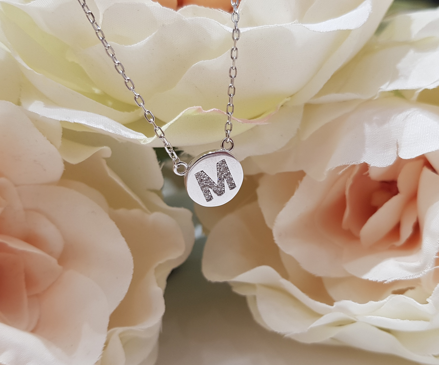 Sterling Silver Stone Set Initial Pendant & Chain - Letter M