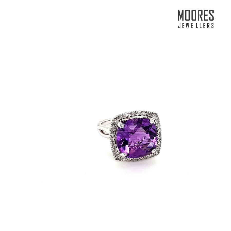 9ct. White Gold, Amethyst & Diamond Halo Ring