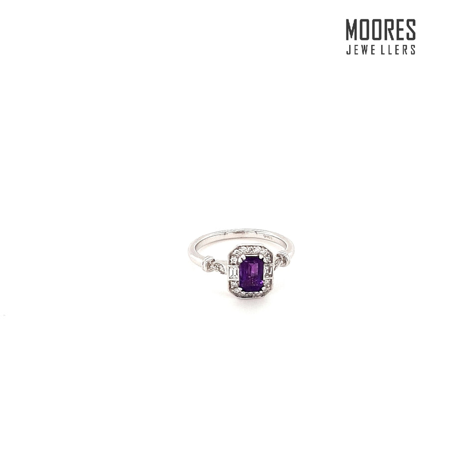 9ct. White Gold White Sapphire & Amethyst Ring