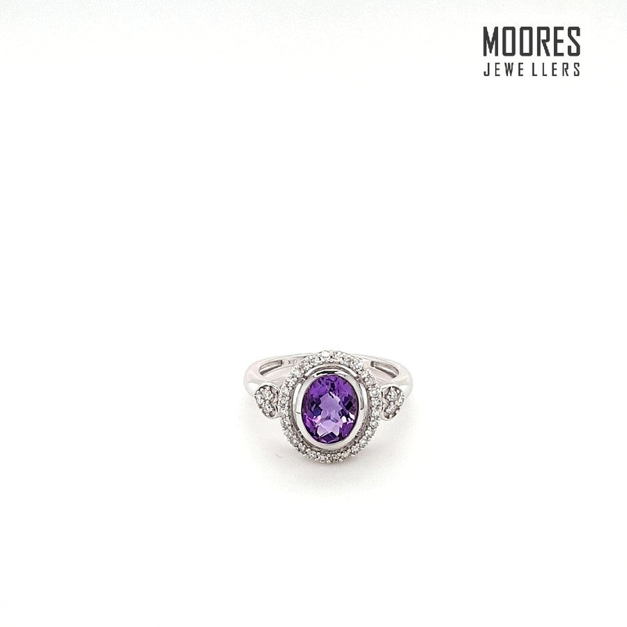 9ct. White Gold Diamond & Amethyst Ring
