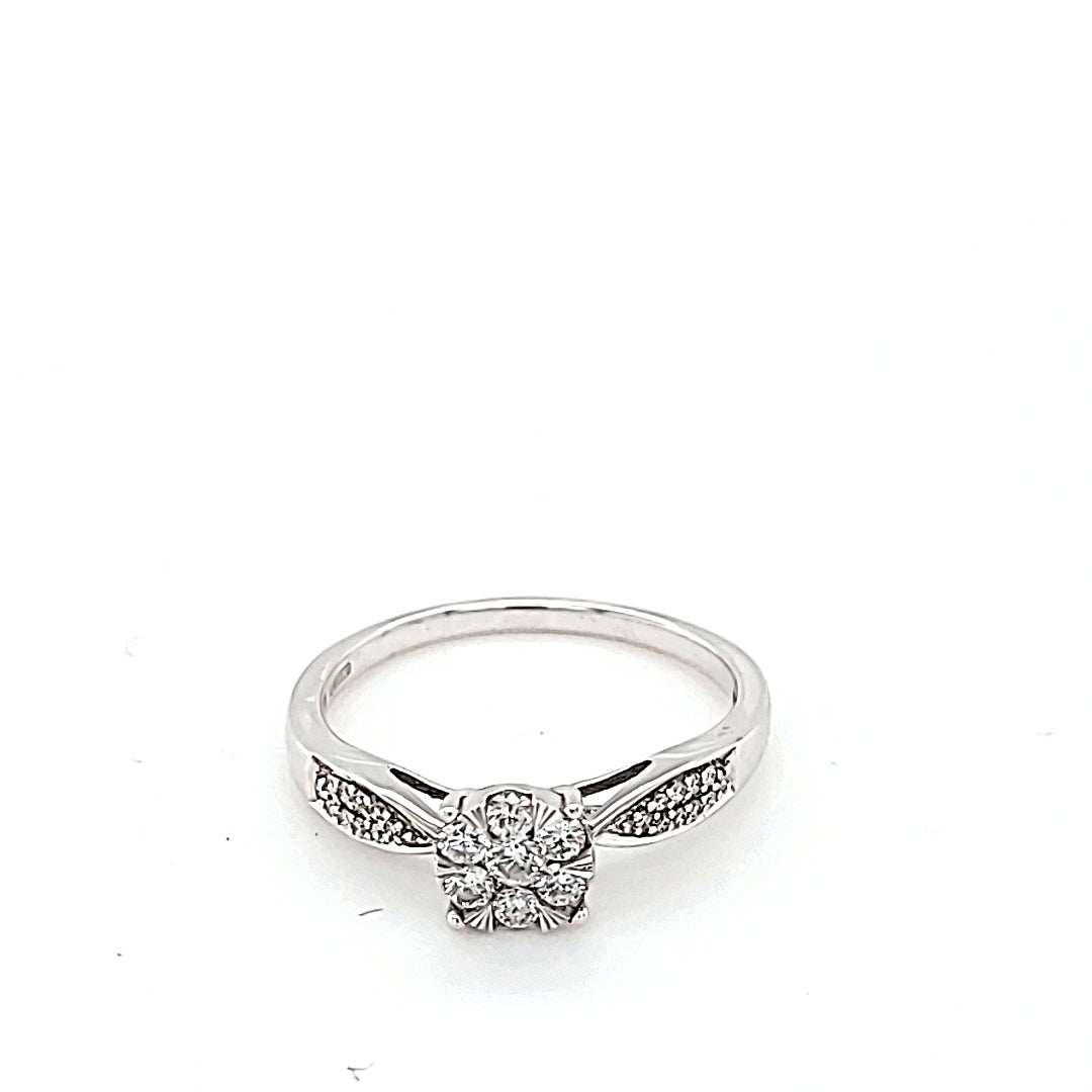 9ct. White Gold & Diamond Engagement Ring