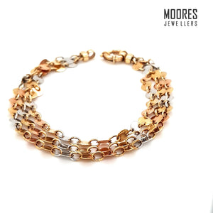 9ct. Yellow, Rose & White Gold Triple Strand Disc Bracelet