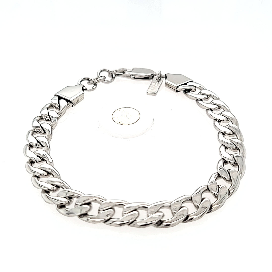 Gents polished steel curb link Lotus bracelet - Amy