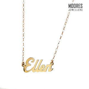 9ct. Yellow Gold Name Chain Necklace - Customisable