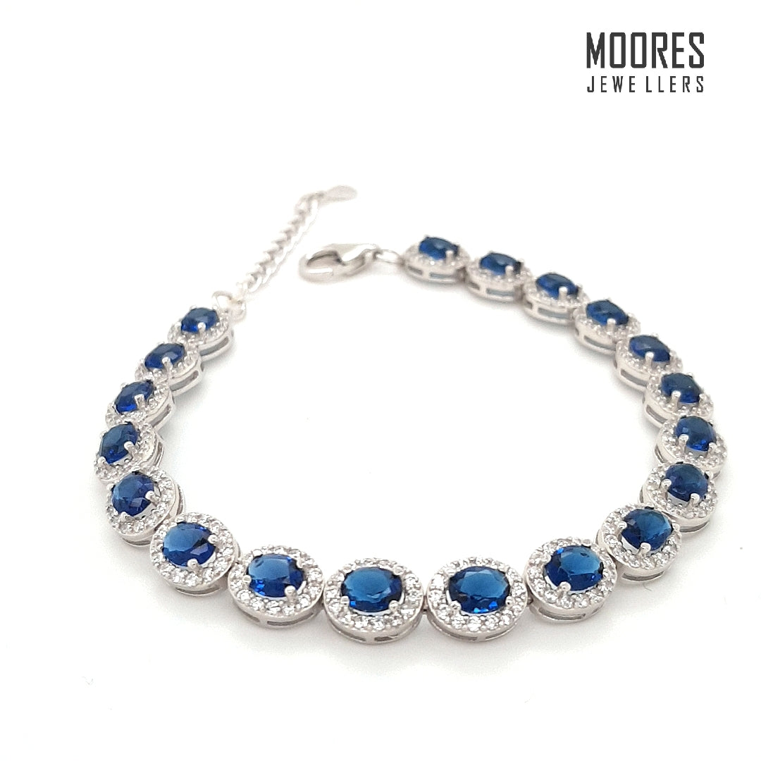 Sterling Silver Blue Stone Set Halo Bracelet