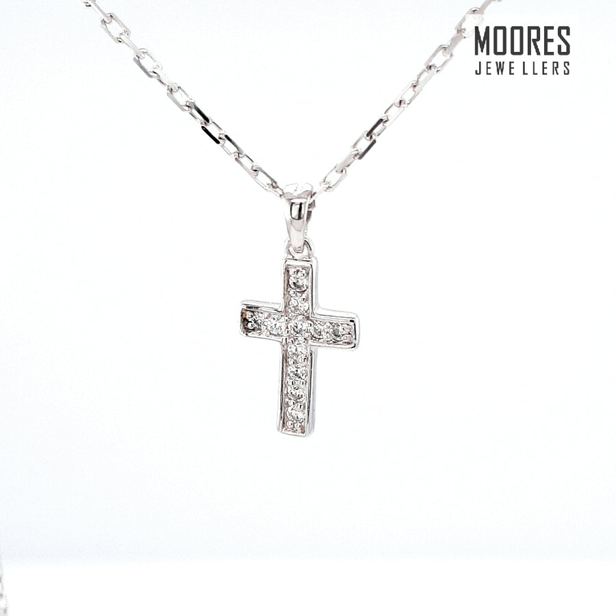 Sterling Silver Children's Stone Set Cross & Chain
