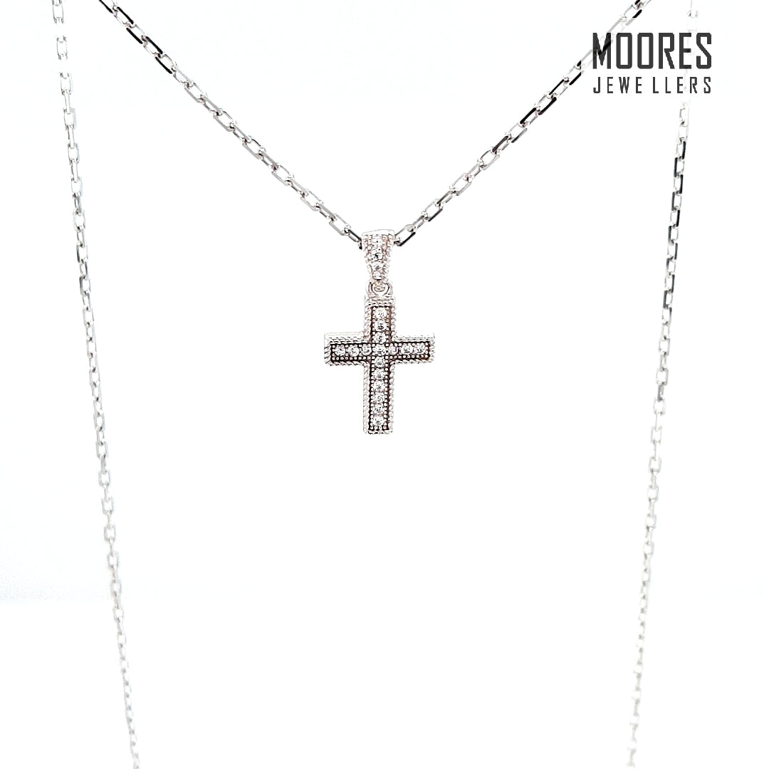 Sterling Silver Children's Stone Set Cross and Chain