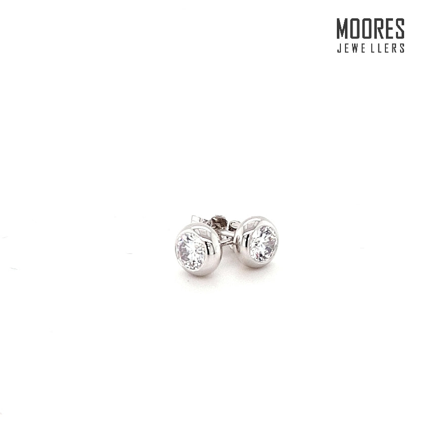 Sterling Silver Round Brilliant Rub-over/Bezel Set Stud Earrings