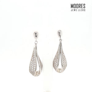 Sterling Silver Stone Set Micro-Pave Drop Earrings