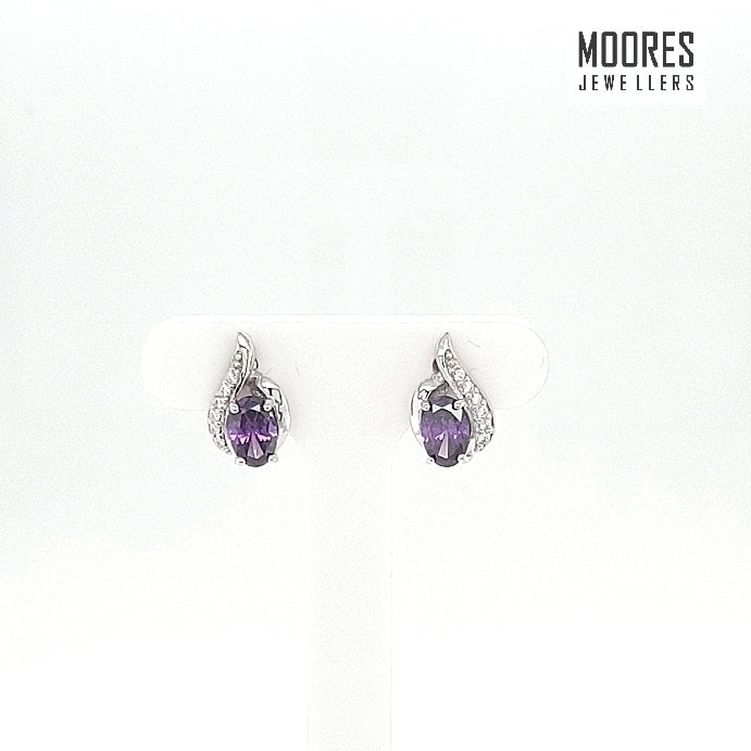 Sterling Silver Amethyst Stone Set Stud Earrings