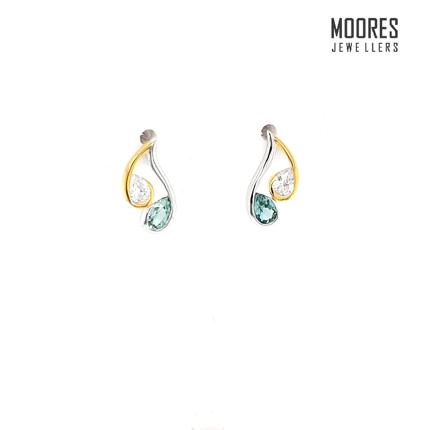 Sterling Silver & Gold Plated Teal & White Colour Stone Set Stud Earrings