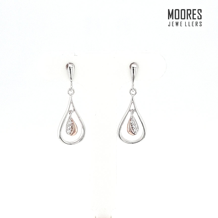 Sterling Silver & Rose Gold Plated Stone Set Drop Earrings