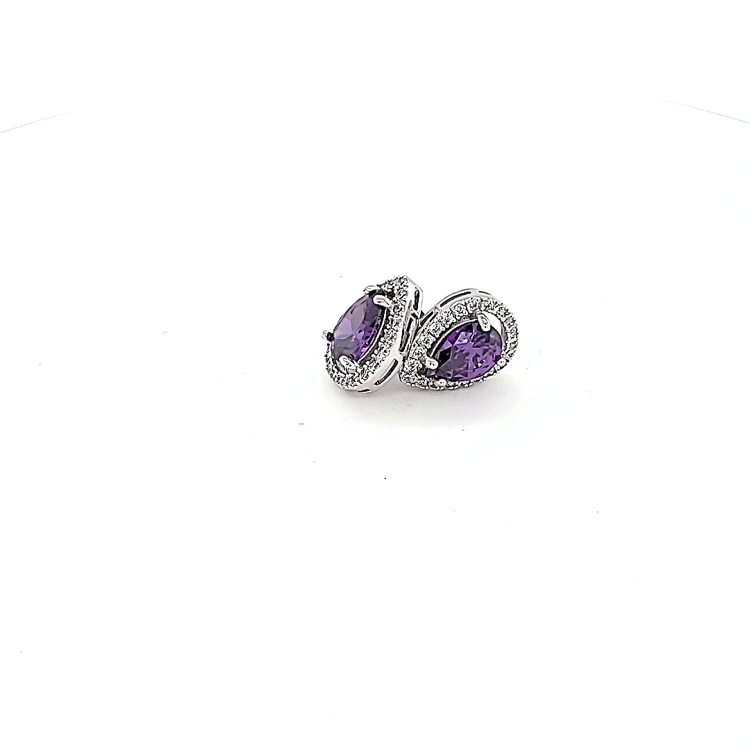Sterling Silver Amethyst Colour CZ Pear Shaped Halo Earrings
