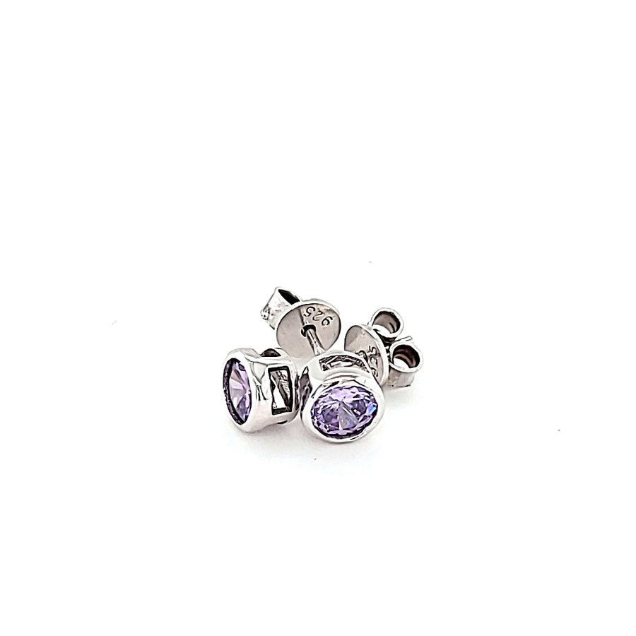 Sterling Silver Amethyst Colour CZ Round Brilliant Bezel Set Earrings