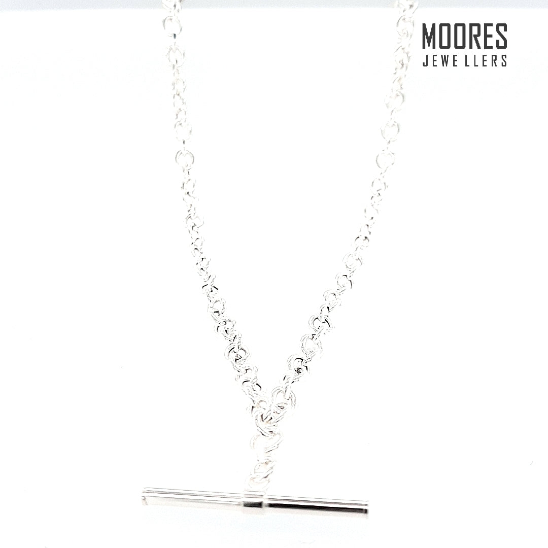 Sterling Silver T-Bar Necklace