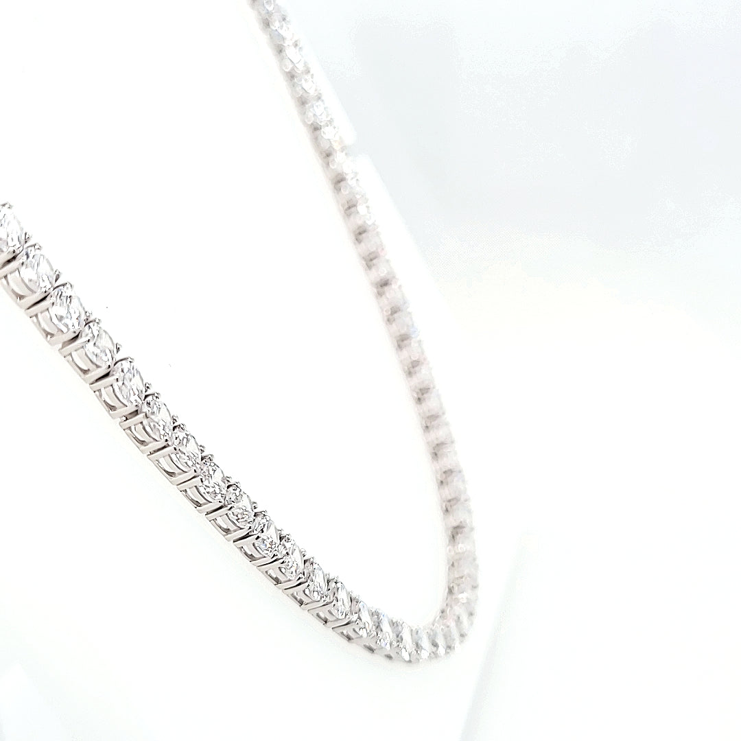 Sterling Silver Round Brilliant CZ Set Tennis Style Necklace