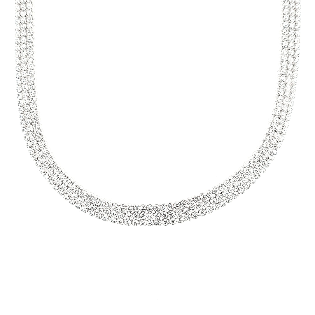 Sterling Silver Round Brilliant CZ Set Triple Strand Necklace