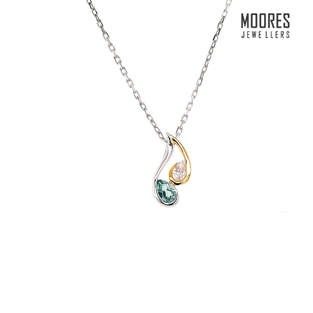 Sterling Silver & Gold Plate Teal & White Set Pendant and Chain