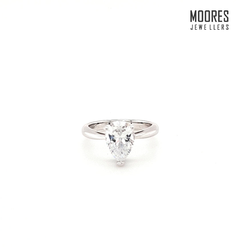 Sterling Silver Pear Shaped Solitaire Ring