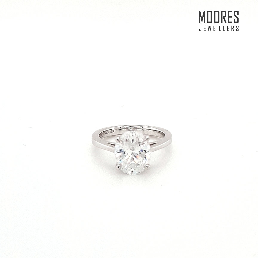 Sterling Silver Oval Cut Solitaire Ring