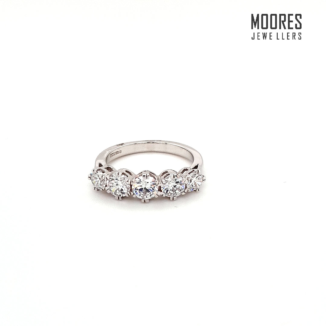 9ct. White Gold Five Stone Ring
