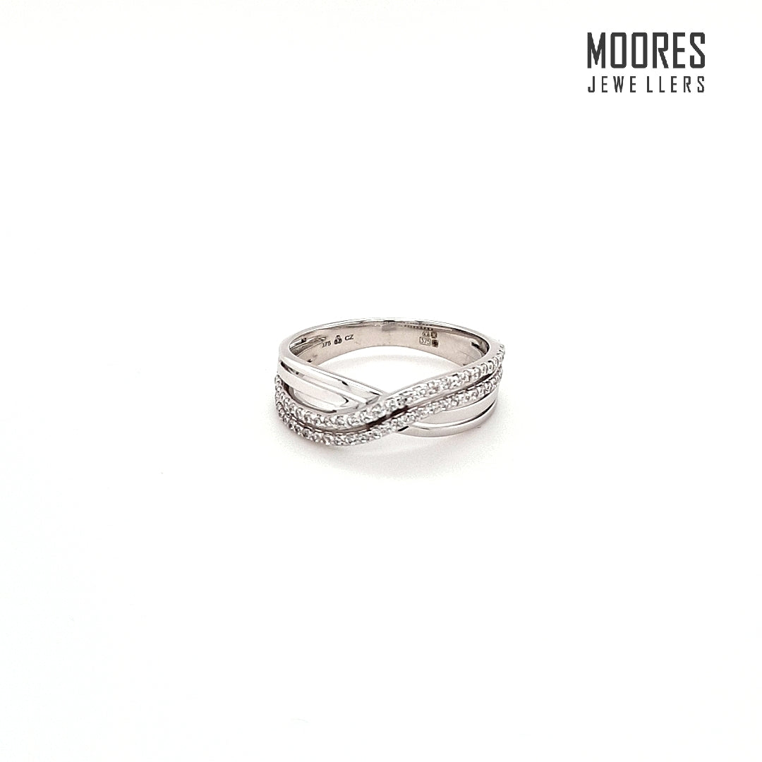 9ct. White Gold Double Row Stone Set Ring With a Twist