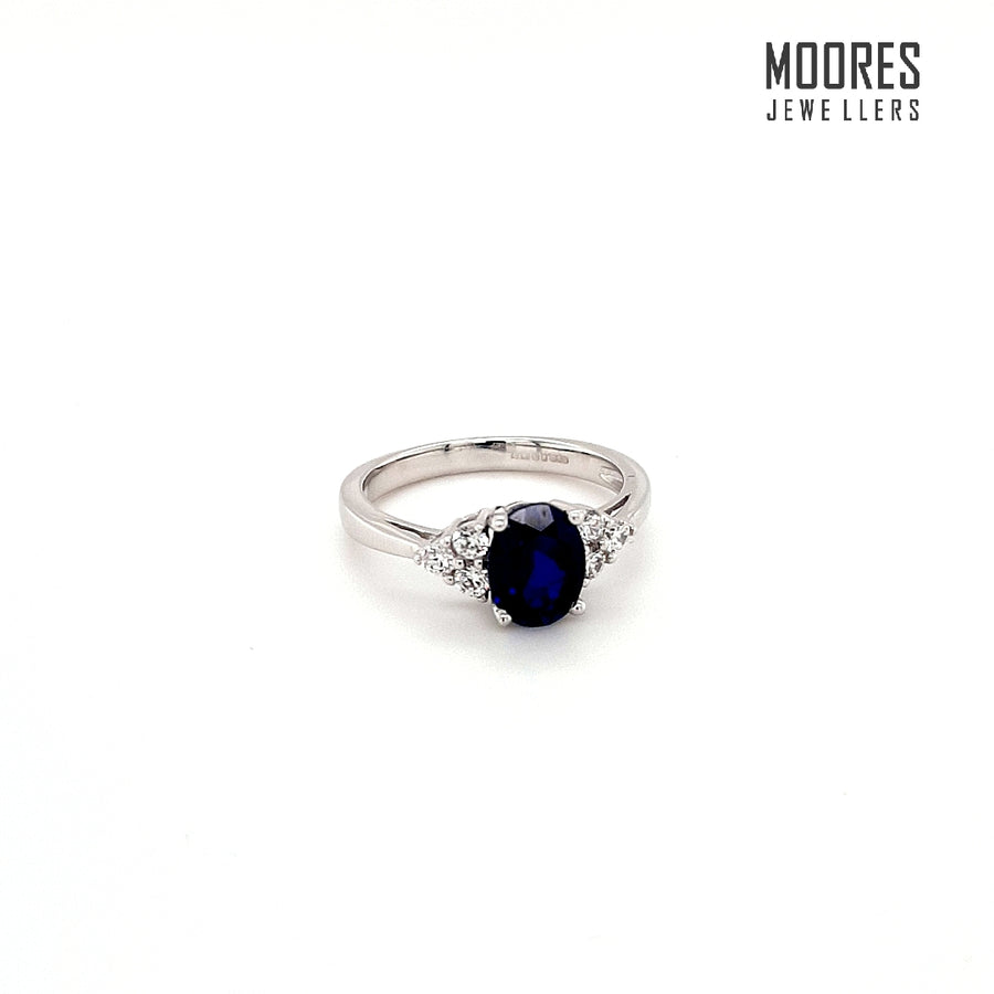 9ct. White Gold Oval Cut Blue & White Stone Ring