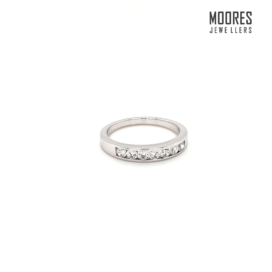 9ct. White Gold Channel Set Eternity Style Ring