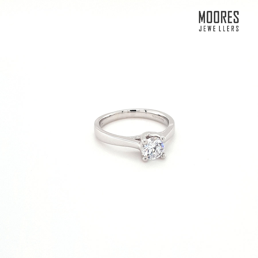 9ct. White Gold Round Brilliant Solitaire Ring