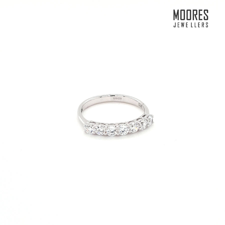 9ct. White Gold Seven Stone Eternity Style Ring