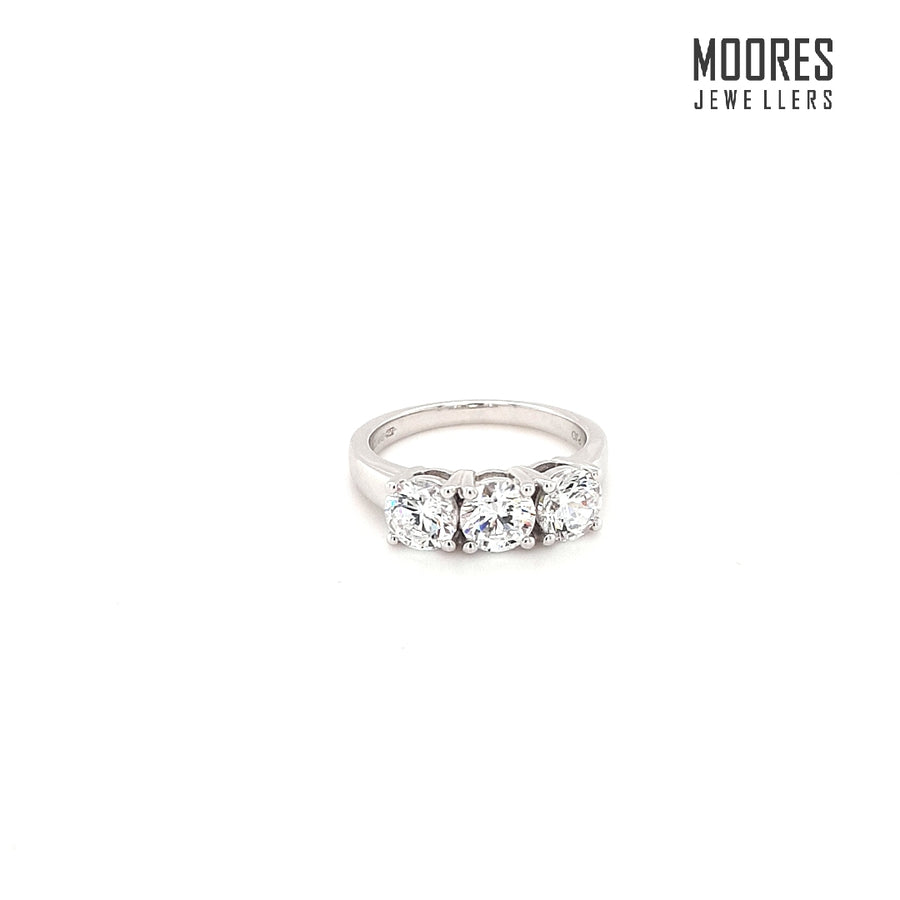 9ct. White Gold Round Brilliant Three Stone Ring