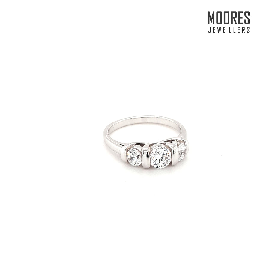 9ct. White Gold Three Stone Semi-Tension/Bar Set Ring