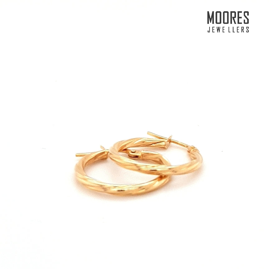 9ct. Yellow Gold Hoop Earrings with a Faceted Twist