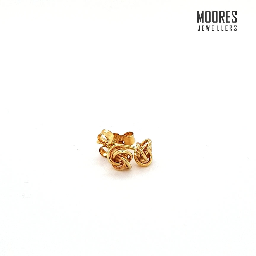 9ct. Yellow Gold Knotwork Stud Earrings