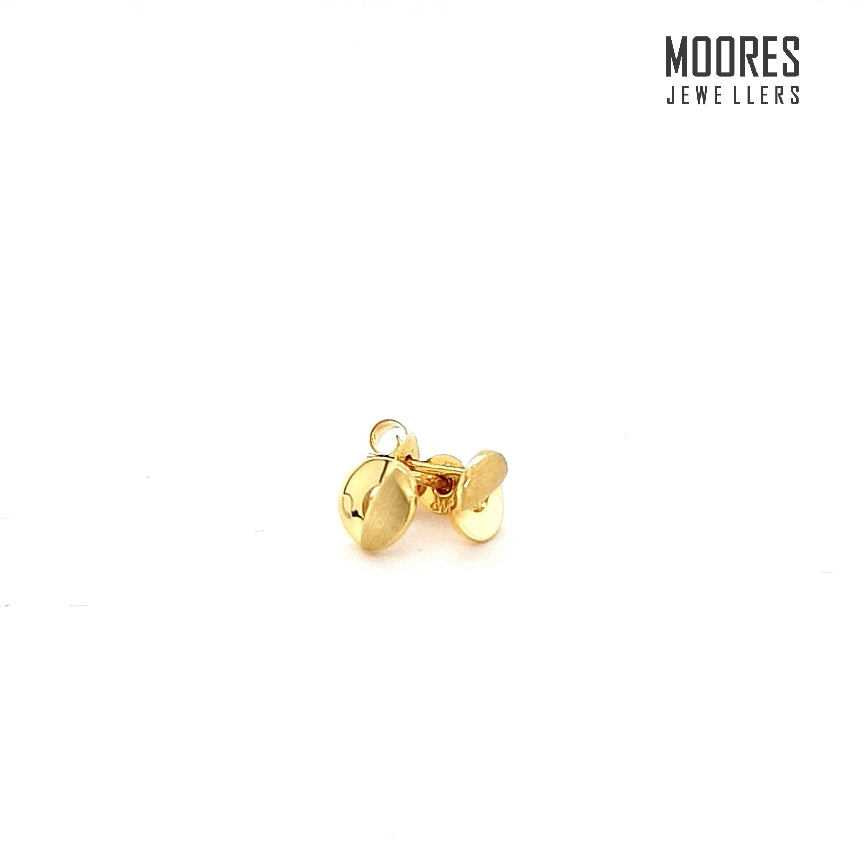 9ct. Yellow Gold Matt & Polished Stud Earrings