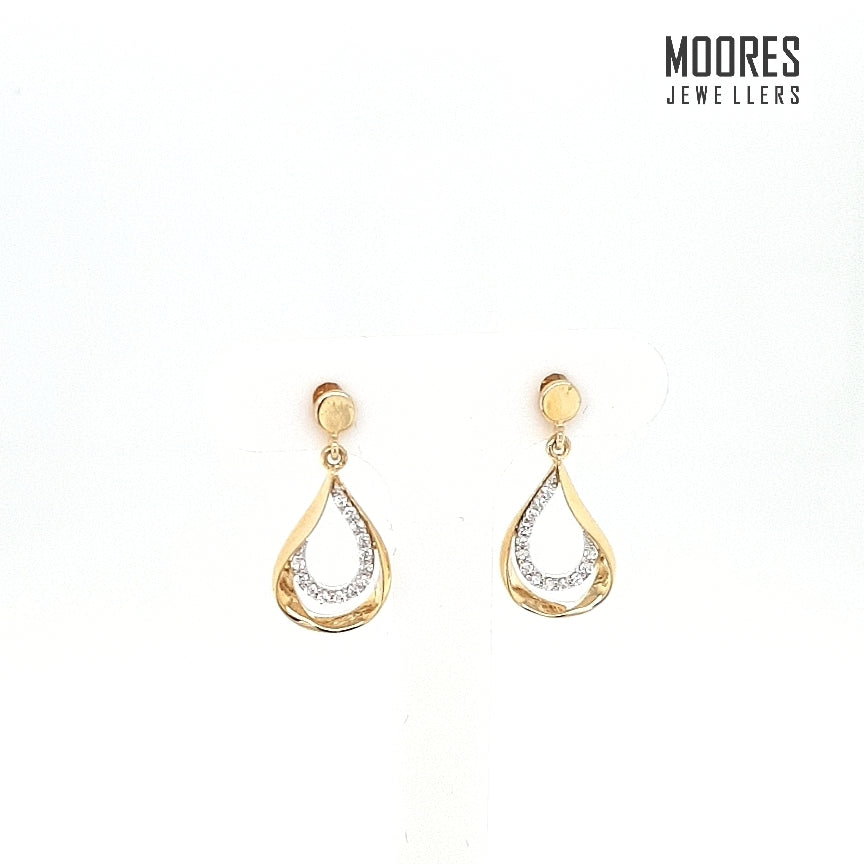 9ct. Yellow Gold Stone Set Drop Earrings