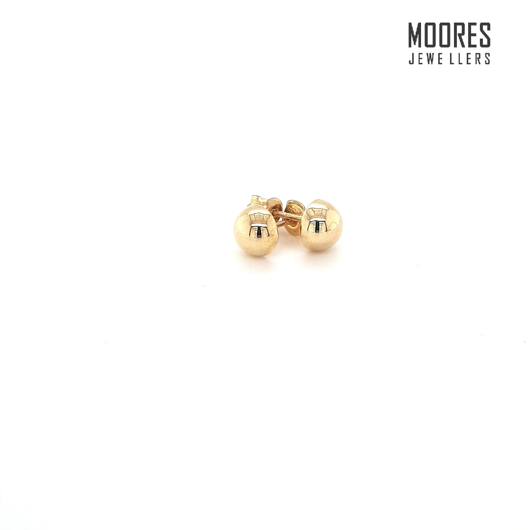 9ct. Yellow Gold Half Round Ball Studs