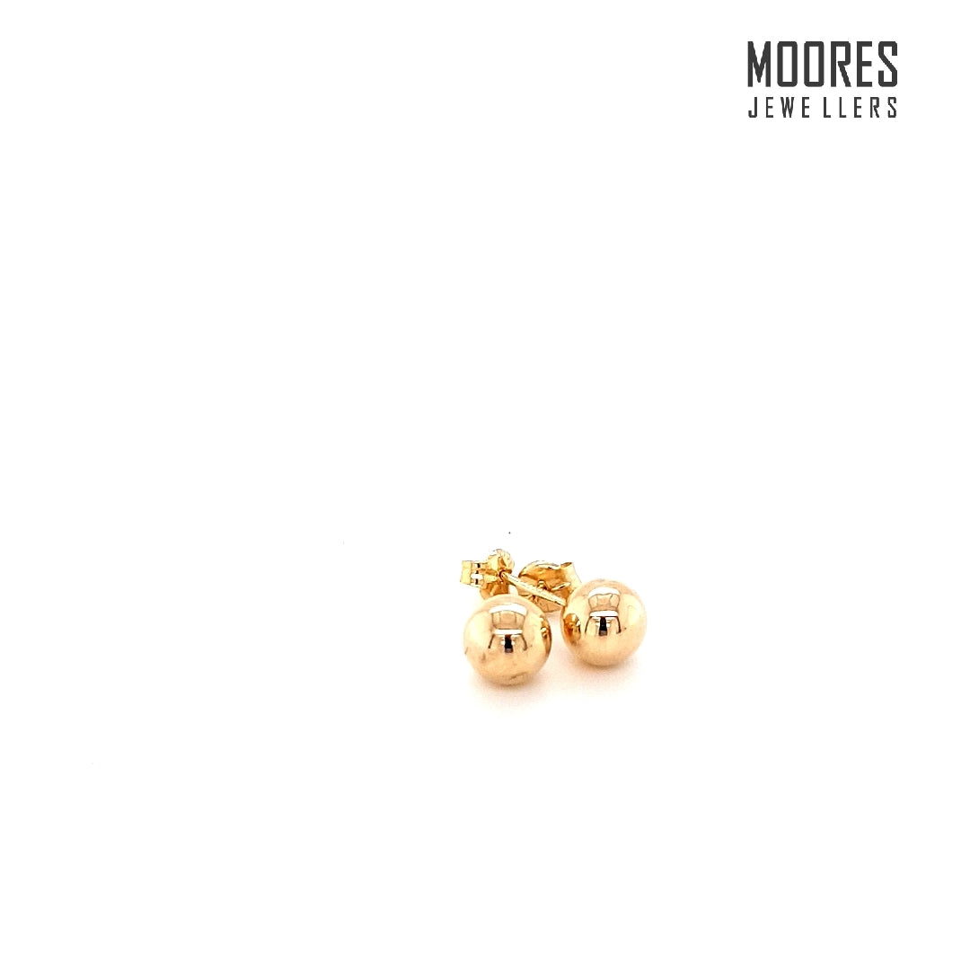9ct. Yellow Gold Ball Stud Earrings