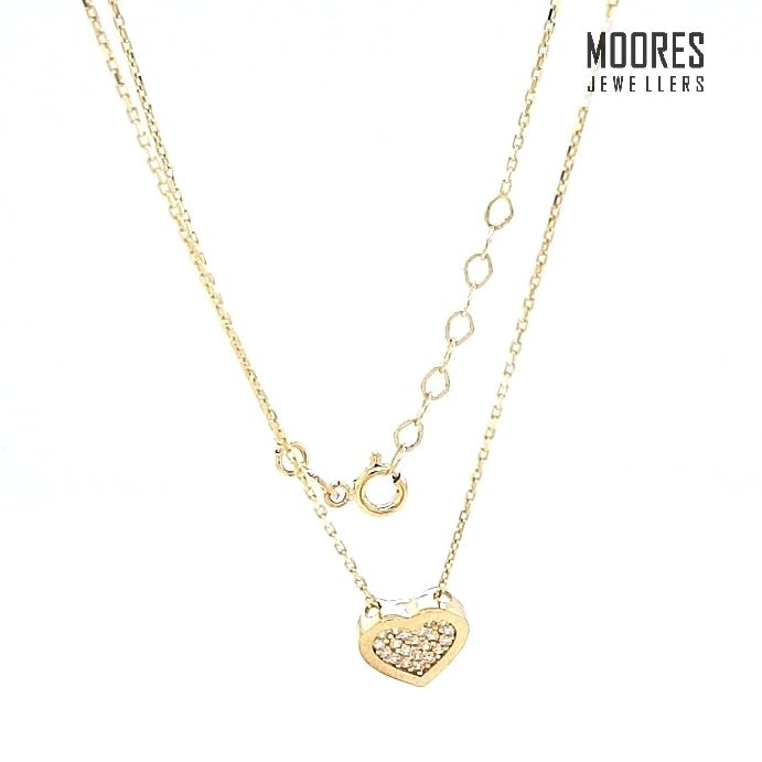 9ct. Yellow Gold Stone Set Heart Shaped Pendant