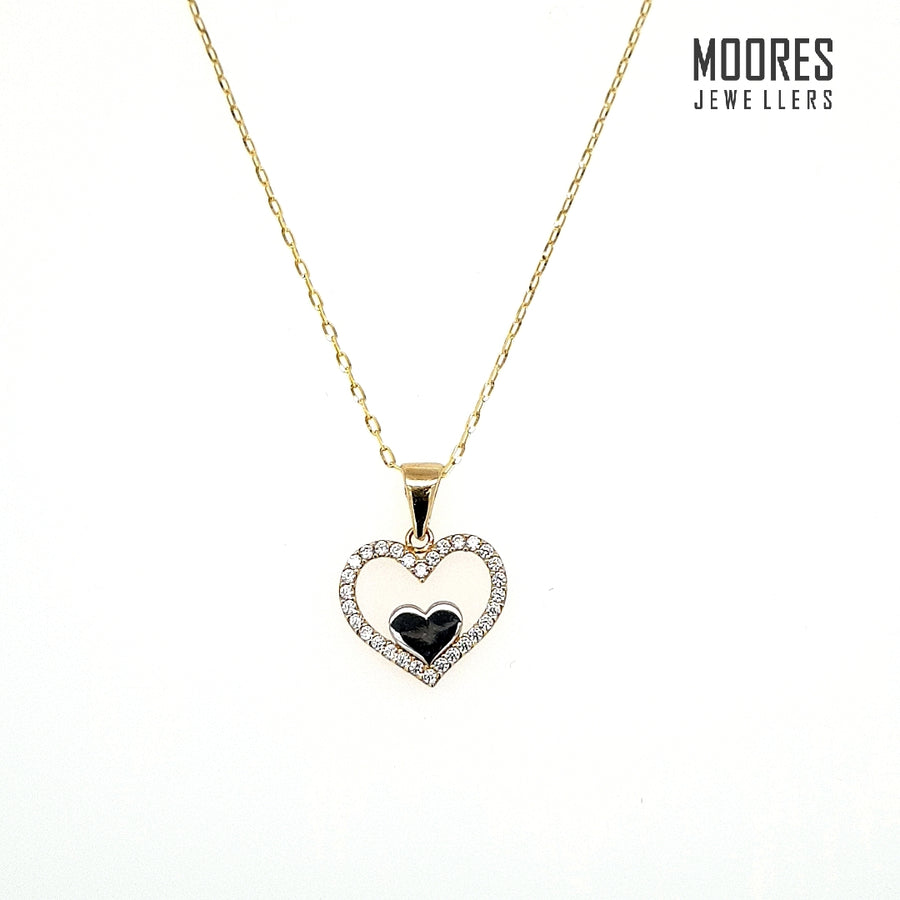 9ct. Yellow Gold Heart Shaped Stone Set Pendant & Chain
