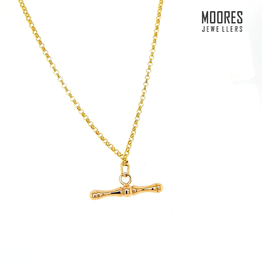 9ct. Yellow Gold T-Bar Necklace