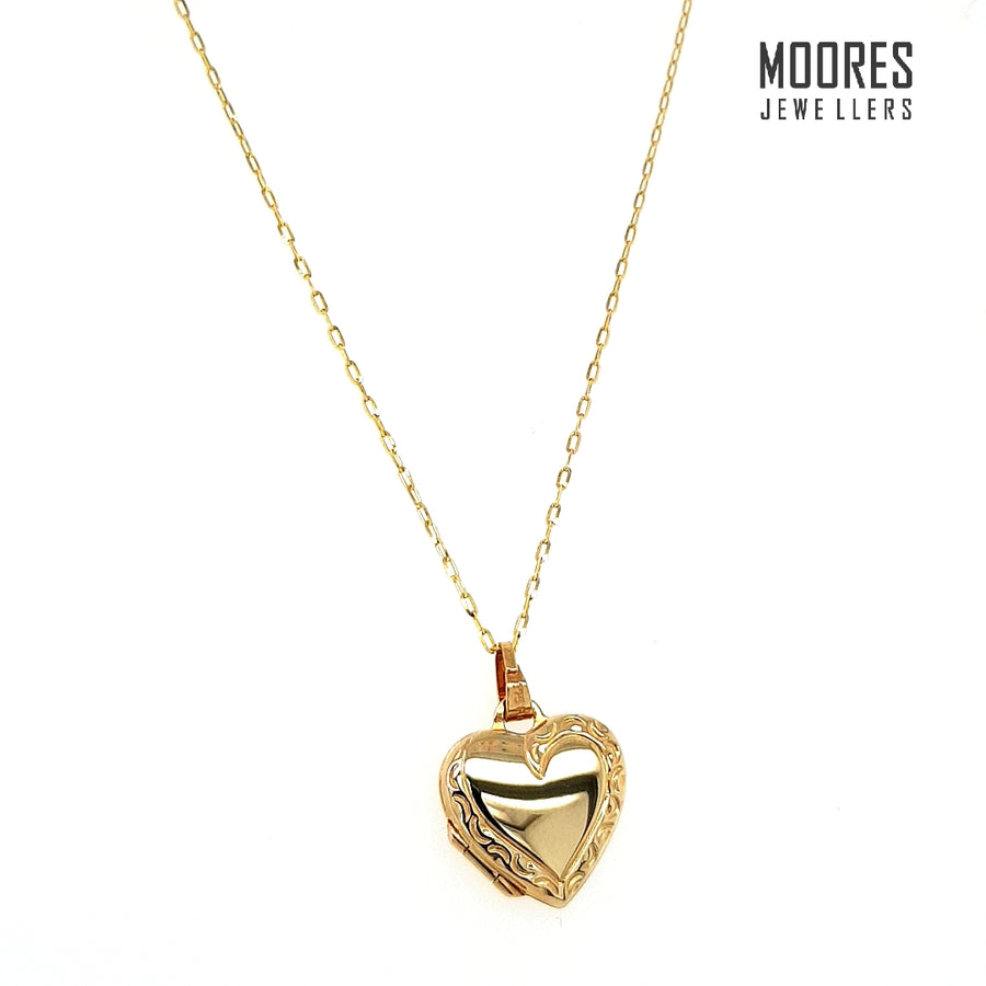 9ct. Yellow Gold Heart Shaped Locket & Chain