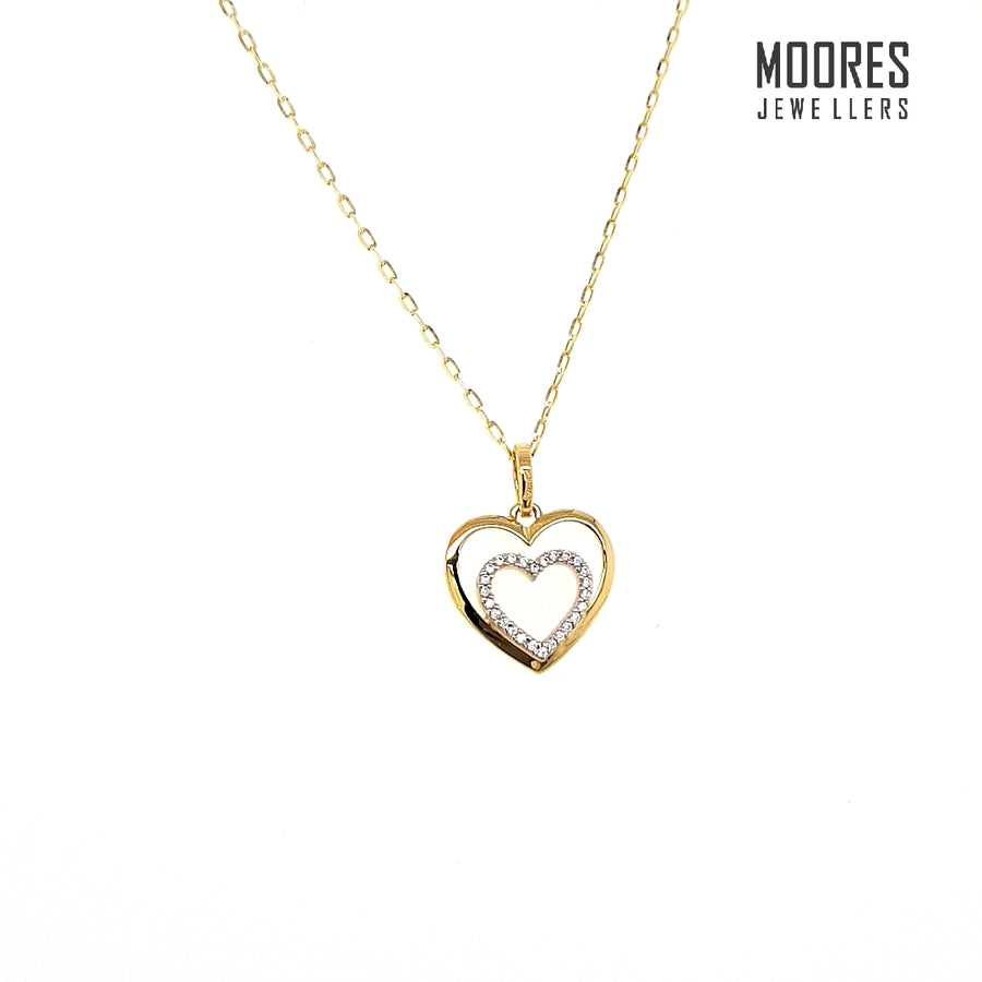 9ct. Yellow Gold Stone Set Heart Shaped Pendant & Chain