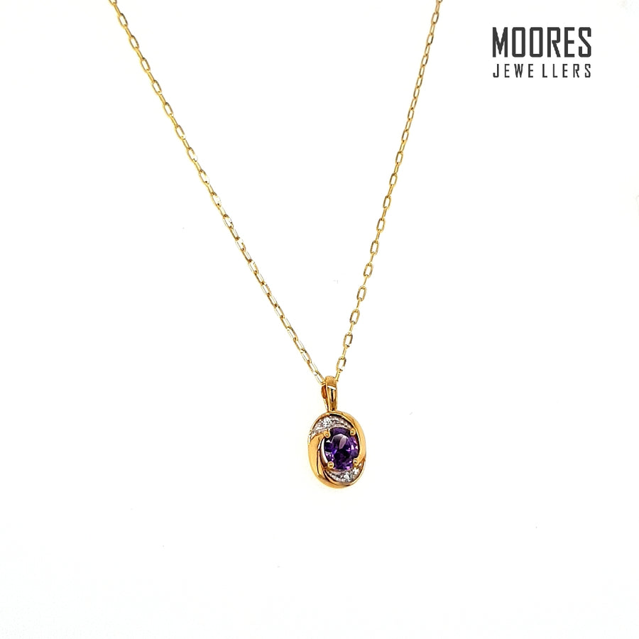 9ct. Yellow Gold Amethyst Pendant and Chain